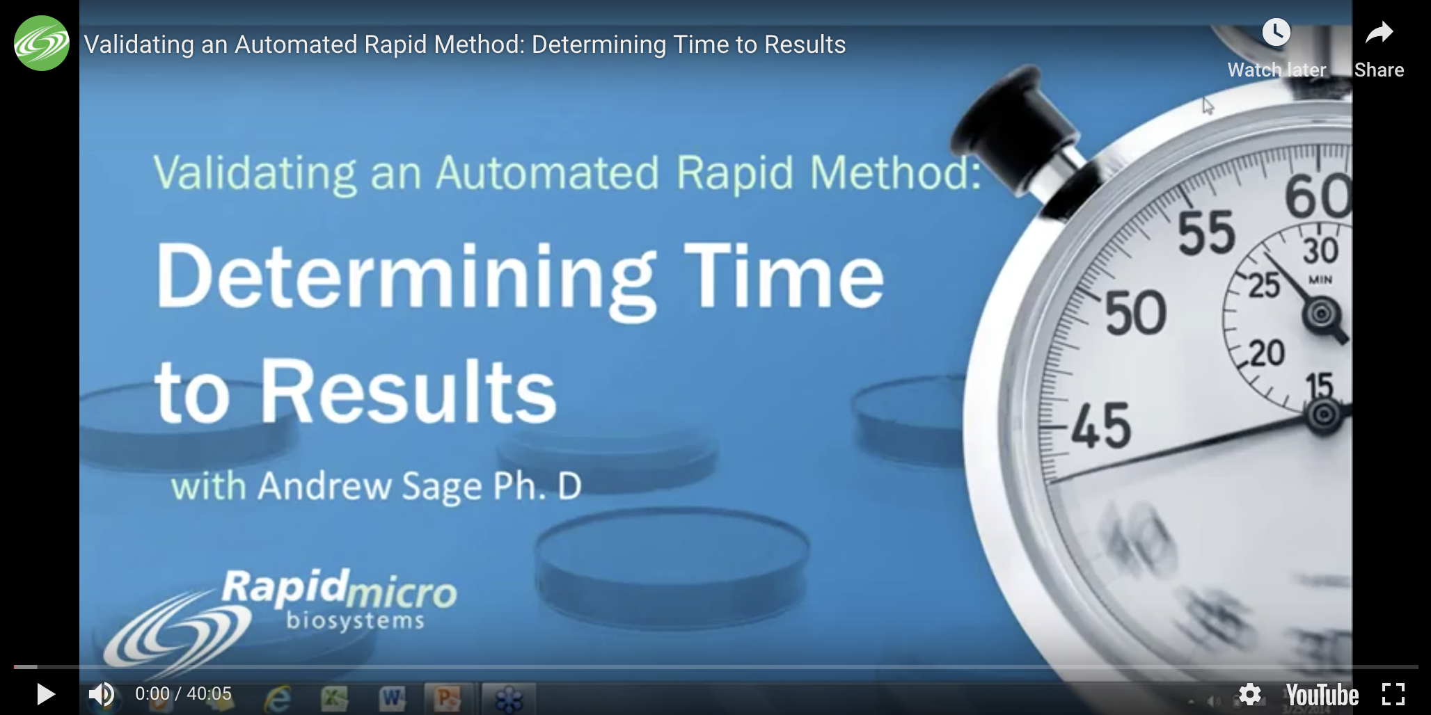 Validating an Automated Rapid Method: Determining Time to Results