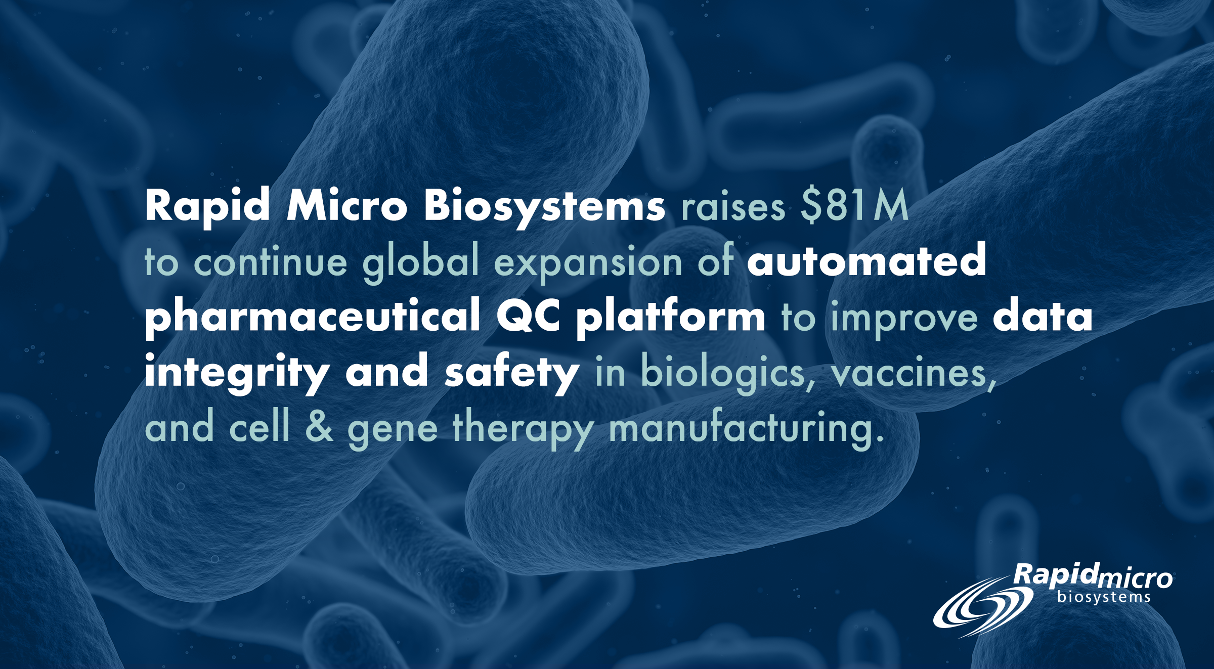 Rapid Micro Biosystems, Inc. announced the completion of an $81 million equity financing